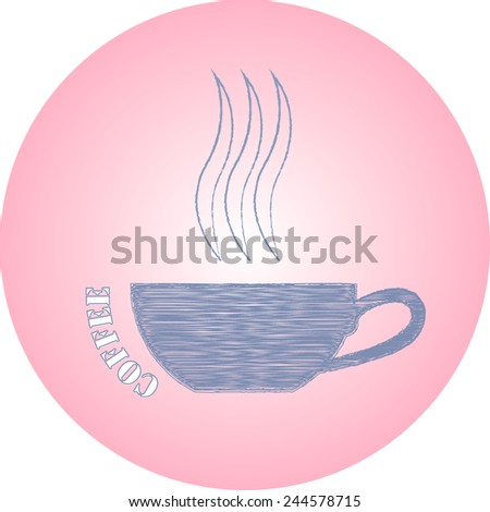 hand drawn ink logo coffee cup on pink background  - stock photo
