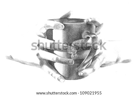hand drawn ink sketch of hands holding coffee cup or mug isolated on white background, illustration is clip art for coffee shop or menu logo design or website, friendship or giving and sharing concept - stock photo