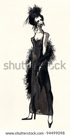 Hand drawn ink sketch with beautiful woman dressing black evening dress - stock photo
