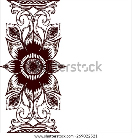 Hand-drawn lace ornament, abstract background. Vertical the wavy pattern floral frame design for card - raster copy illustration - stock photo