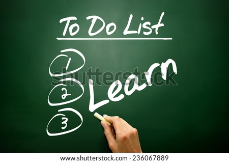 Hand drawn Learn in To Do List, business concept on blackboard - stock photo