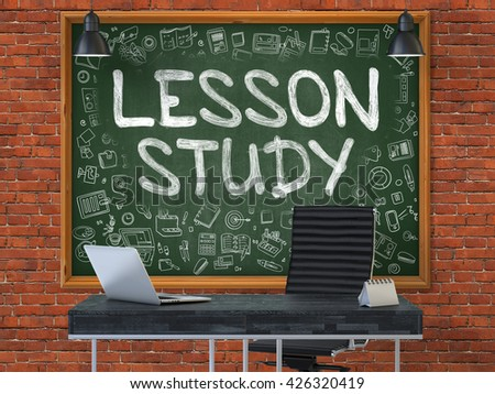 Hand Drawn Lesson Study on Green Chalkboard. Modern Office Interior. Red Brick Wall Background. Business Concept with Doodle Style Elements. 3D.