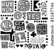 hand drawn lettering design elements isolated on white background - stock photo