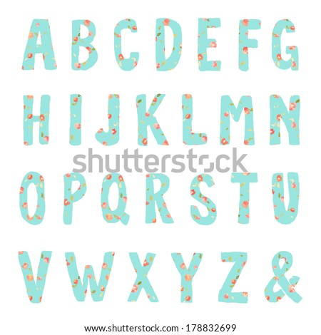 Hand Drawn Letters Alphabet Font With Floral Print - stock photo