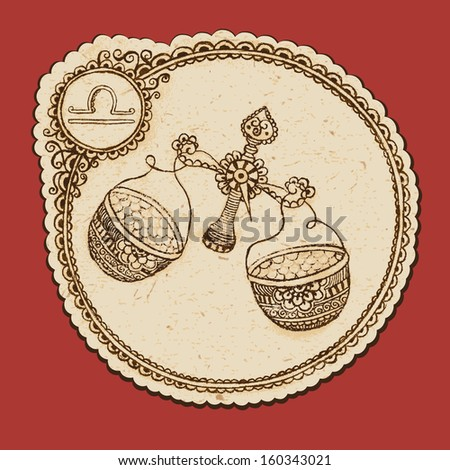 Hand drawn libra with elements of the ornament in ethnic style. Zodiac sign - Libra. - stock photo