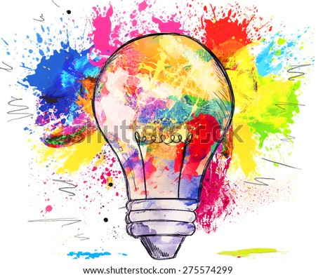 Hand-drawn light bulb over bright colorful blots of paint, on white, concept of creativity and innovation - stock photo
