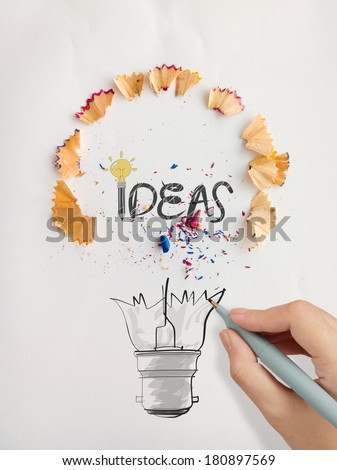 hand drawn light bulb word design IDEA with pencil saw dust on paper background as creative concept - stock photo