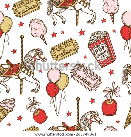 Hand drawn luna park vintage seamless pattern. Cotton candy, carousel horse, pop corn, air balloons, candy apple, ice cream, amusement park tickets - stock photo