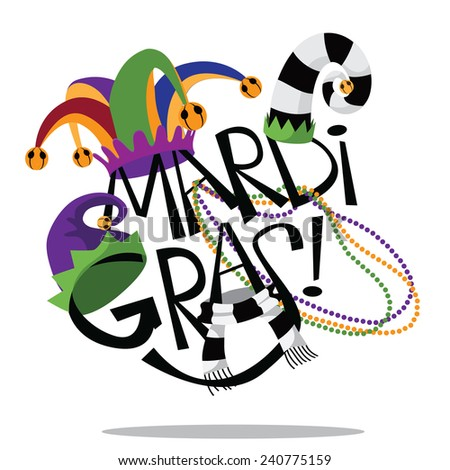 Hand drawn Mardi Gras type with hats and Checkered Fleur de lis with beads stock illustration - stock photo