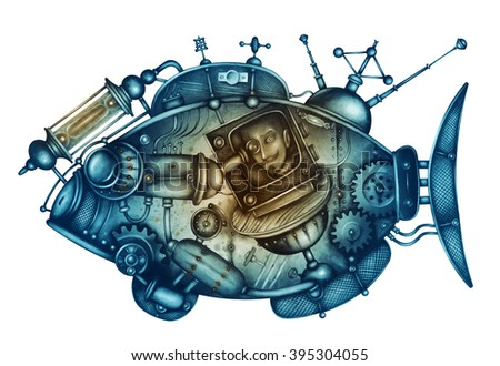 Hand- drawn mechanical fishs steampunk