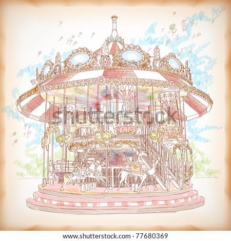 Hand Drawn Merry-Go-Round - stock photo