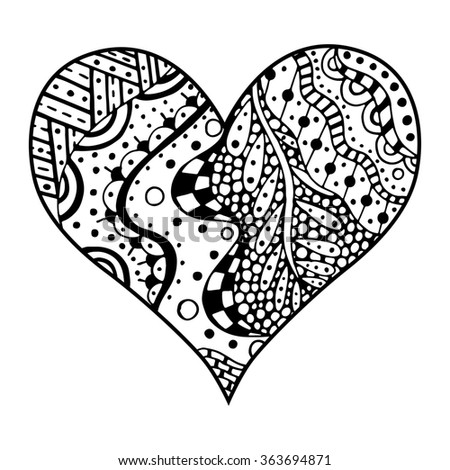 Hand Drawn Monochrome Hearts In Zentangle Style Pattern For Coloring Book Page