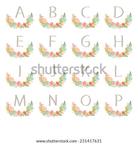 Hand drawn monogram wreath table card A to P illustration - stock photo