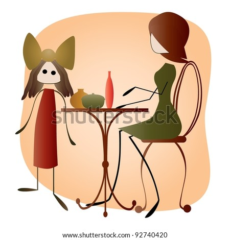 Hand Drawn Mother and Daughter in Cafe - stock photo