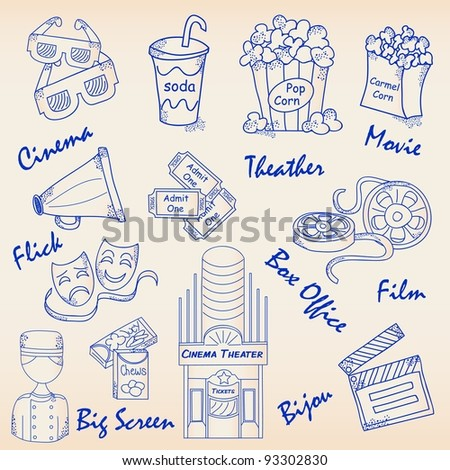 Hand Drawn Movie Icons Set - stock photo