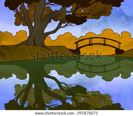 Hand drawn nature autumn landscape of a big tree standing by the river or lake