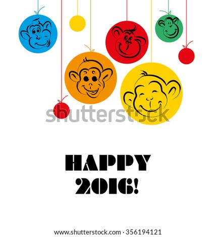 Hand drawn new year illustration with congratulations. Christmas postcard design. Editable graphic design template. Celebration and holiday. - stock photo