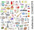hand drawn objects doodles collection - stock photo