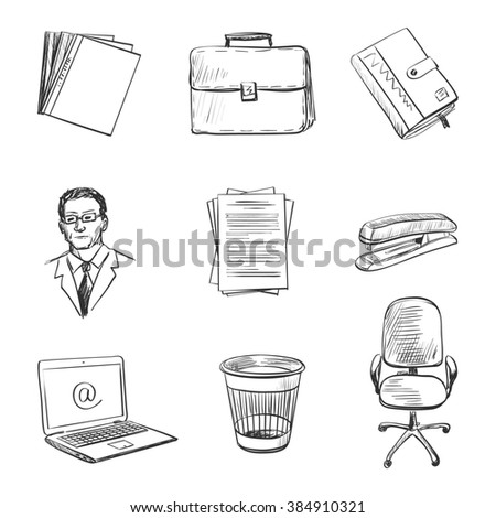 Hand-drawn Office equipment icons. Quality design illustration, elements and concept. - stock photo