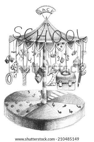 Hand drawn old-styled picture of merry go round with school motives - stock photo