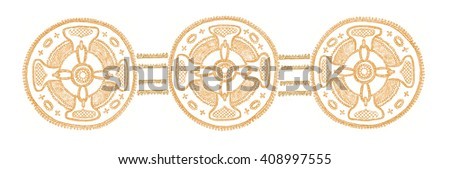 Hand-drawn ornament in the shape of a cross. Border. - stock photo