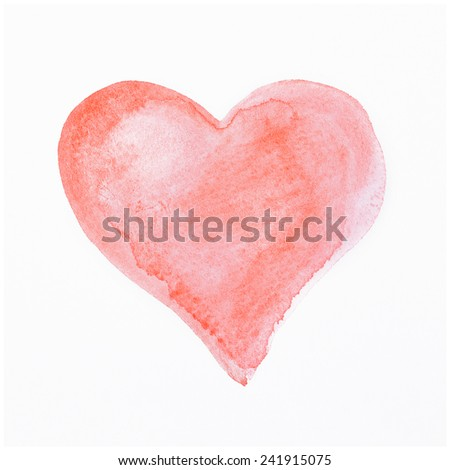 Hand-drawn painted red heart - stock photo