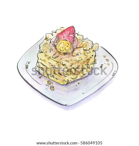 hand drawn painted watercolor isolated pie cake tart with strawberry on plate on white background