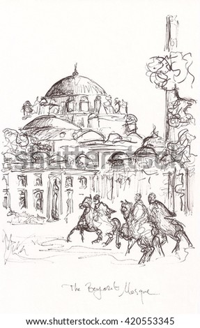 Hand drawn painting of ottoman times.
