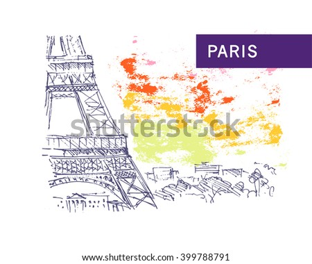 Hand drawn Paris city view sketch. Nature, architect picture. Touristic sight seeing. Print design, book, article illustration. Europe traveling. Memory postcard, invitation design. - stock photo