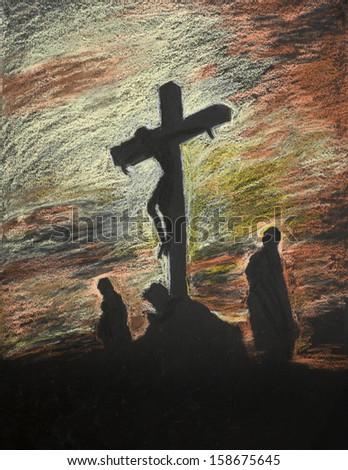 hand drawn pastel representation of religious scene - stock photo