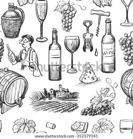 Hand drawn pattern of wine making. Wine objects: bottle, glass, barrel, grapes, corkscrew, sommelier. - stock photo