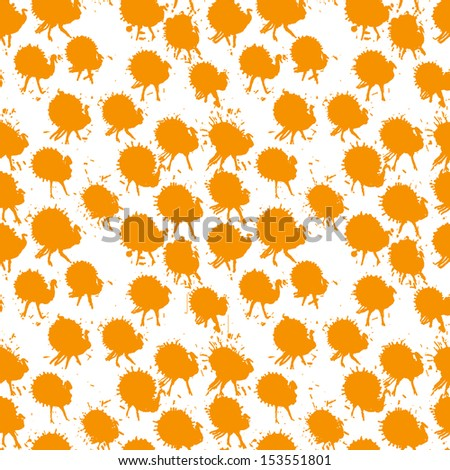 Hand drawn pattern with funny turkeys - stock photo