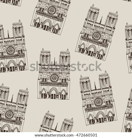 Hand drawn pattern with Notre Dame de Paris Cathedral, France. Seamless background with french travel landmark