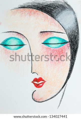 hand drawn pencil illustration of stylized portrait of beautiful woman with closed eyes - stock photo