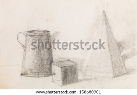 hand drawn pencil sketch illustrating still life with geometrical figures and metal jug