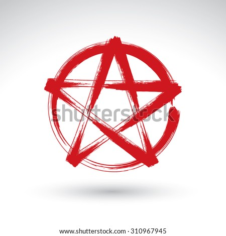 Hand drawn pentagram icon scanned, brush drawing red magic polygonal star, hand-painted pentagram symbol isolated on white background. - stock photo