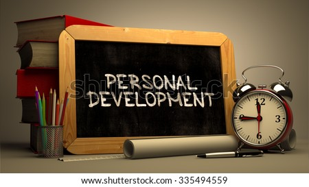 Hand Drawn Personal Development Concept on Chalkboard. Blurred Background. Toned Image. - stock photo