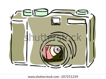 hand drawn photo camera - stock photo