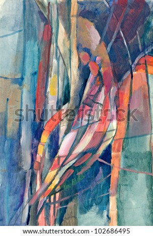 Hand-drawn picture. Mixed media : pencil and acrylic colors. Abstraction - resembling a human figure. - stock photo