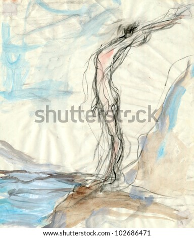 "Hand-drawn picture. Water colors, pencil, tempera.""Orpheus and Eurydice"" (theme). Figure painted expressive manner. - stock photo"