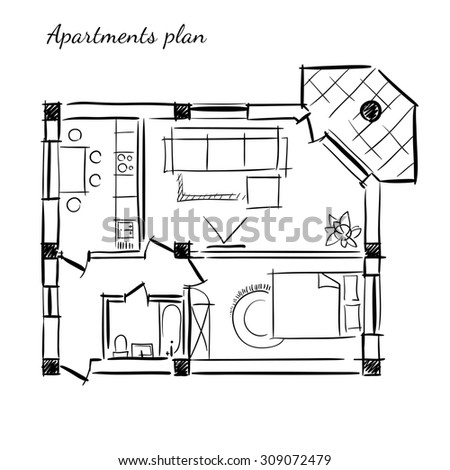 Hand drawn plan of the apartment with one bedroom and with furniture on the white background. - stock photo