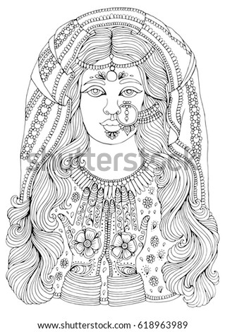 hand drawn portrait of an indian girl with a pattern mehendi on the hands of