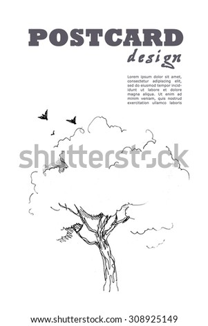 Hand drawn postcard template with birds, tree and text space. - stock photo