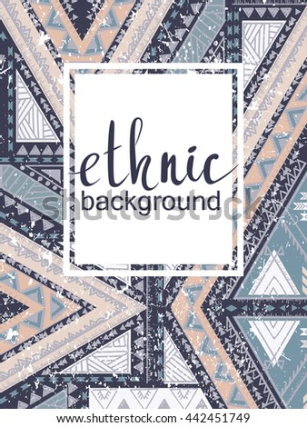 Hand-drawn print, ethnic pattern, for cards, banners - stock photo