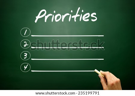 Hand drawn Priorities blank list concept on blackboard - stock photo