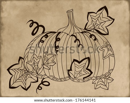 Hand-drawn pumpkin on vintage background. Raster version - stock photo