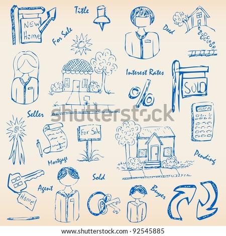 Hand Drawn Real Estate Icon Set - stock photo