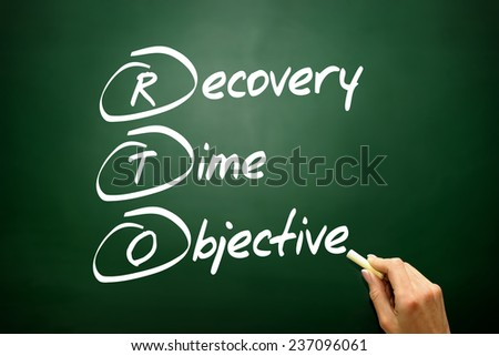 Hand drawn Recovery Time Objective (RTO), business concept acronym on blackboard - stock photo