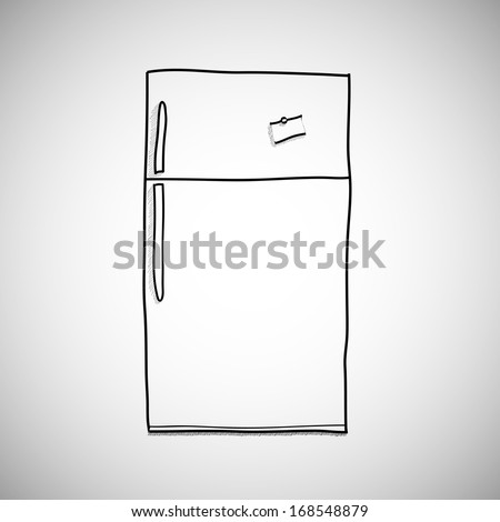 Hand drawn refrigerator/cartoon, illustration isolated on white background. hand drawn, sketch style. - stock photo