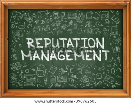 Hand Drawn Reputation Management on Green Chalkboard. Hand Drawn Doodle Icons Around Chalkboard. Modern Illustration with Line Style. - stock photo